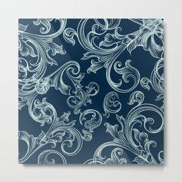 Luxury elegant flourishes on blue. Royal apartment Metal Print