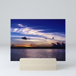 Sunrise seascape panorama blue sky white altostratus cloud. Mini Art Print