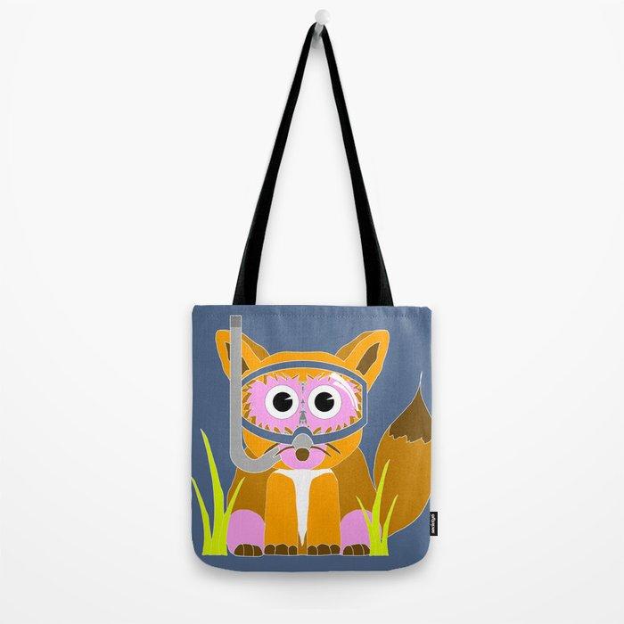 Pink Snorkel Fox Tote Bag