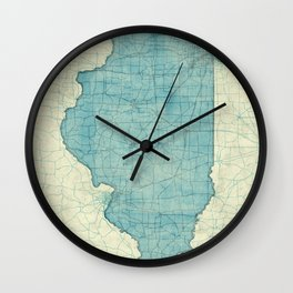 Illinois State Map Blue Vintage Wall Clock