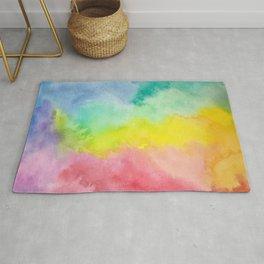 Pastel Rainbow Blur Watercolor Clouds Rug