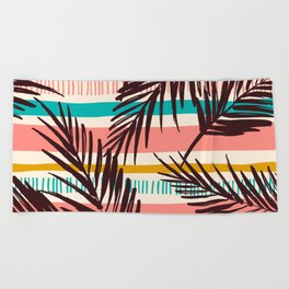 Tribal Tropical Leaf Pattern Beach Towel