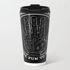 Me & Paranormal You - James Roper Design - Palmistry B&W (white lettering) Metal Travel Mug