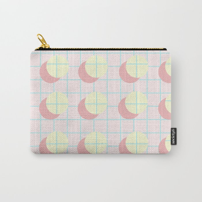 Peach Grids Carry-All Pouch