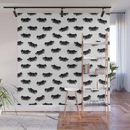 Lashes black and white brushstrokes painting eyelashes makeup art pattern Wall Mural