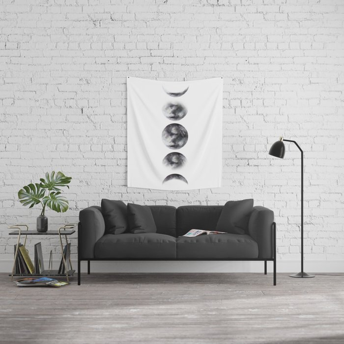 Moon phases watercolor painting Wall Tapestry