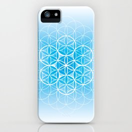 THE FLOWER OF LIFE - MANDALA ON BLUE iPhone Case