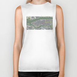 New York city map engraving Biker Tank