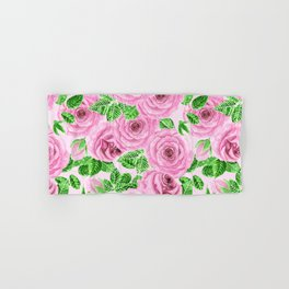 Pink watercolor roses with leaves and buds pattern Hand & Bath Towel