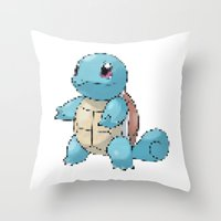 squirtle Throw Pillows featuring PIXELATED SQUIRTLE by DrakenStuff+