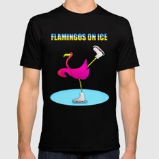Flamingos on ice Mens Fitted Tee Black MEDIUM