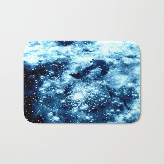 Ice Blue Galaxy Star Clusters Bath Mat