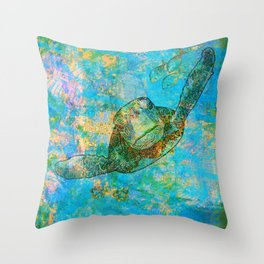 Sea Turtle Over Atlantis Throw Pillow