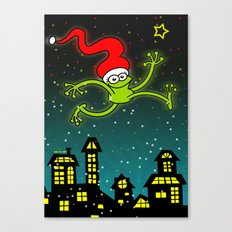 Christmas Frog Jumping out of Joy Canvas Print