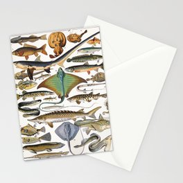 Adolphe Millot - Poissons A - French vintage nautical poster Stationery Cards