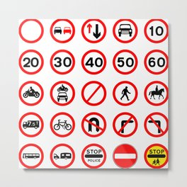 Road Signs - Red Round Metal Print
