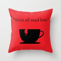 mad Throw Pillows featuring Mad by Crystal Granlund