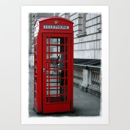 Whitehall Telephone Box Art Print