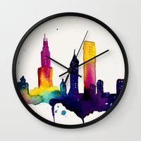 chicago map Wall Clocks featuring Chicago  by Talula Christian