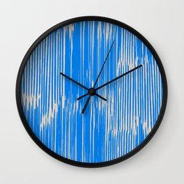 ikat stripe in cobalt Wall Clock