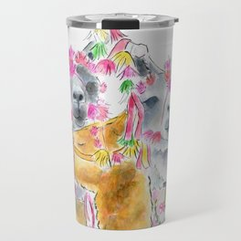 Happy alpacas watercolor Travel Mug