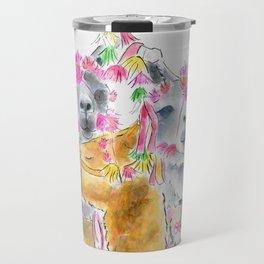 Happy alpacas watercolor Travel Mug