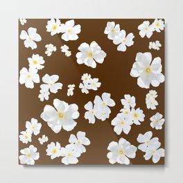 White Boboli Flower - Brown Metal Print