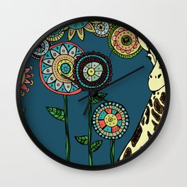 Giraffe with abstract flowers Wall Clock