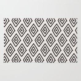 Hand painted black white geometrical diamond polka dots Rug