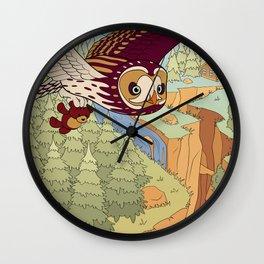 Short-eared Owl with Teddy Bear Wall Clock