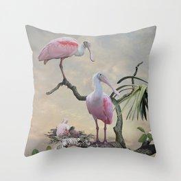 Spoonbills Of Florida Throw Pillow