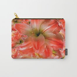 Black-Red Amaryllis Floral Pattern Carry-All Pouch