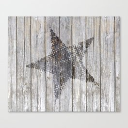 Grunge Star on old weathered grey wood Canvas Print