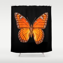 ORANGE MONARCH BUTTERFLY ON BLACK Shower Curtain