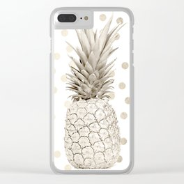 Gold Pineapple Polka Dots 1 Clear iPhone Case