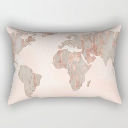 Rosegold Marble Map of the World Rectangular Pillow