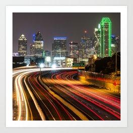 Night Dallas Skyline Square Format Art Print