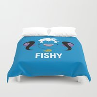 ursula Duvet Covers featuring Distorted Dizney: Fishy Ursula by hellomikho