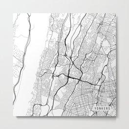 Yonkers Map, USA - Black and White Metal Print