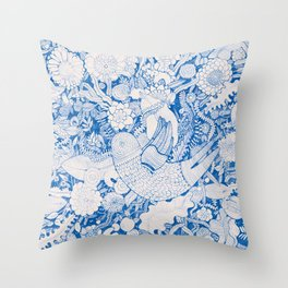 The Bird is Moving - Nude Throw Pillow