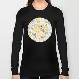 Sunny Yellow Crayon Striped Summer Floral Long Sleeve T-shirt