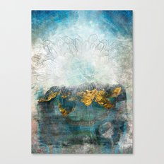 Lapis - Contemporary Abstract Textured Floral Canvas Print