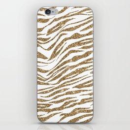 White & Glitter Animal Print Pattern iPhone Skin