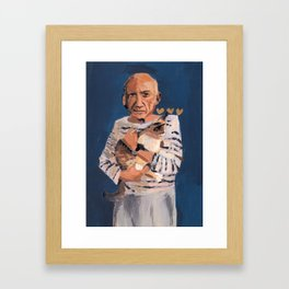 Picasso and cat Framed Art Print