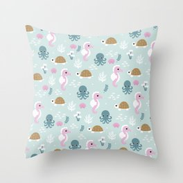 Deep Sea friends turtles jelly fish squid and sea horses girls pattern Throw Pillow