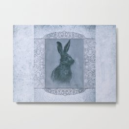 Happy Hare Grey Metal Print