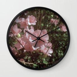 Happy Little Pink Flowers Wall Clock