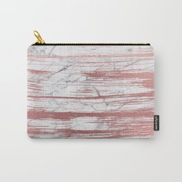 Elegant faux rose gold brushstrokes gray marble Carry-All Pouch