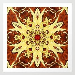 Brass and Burl Mandala Art Print