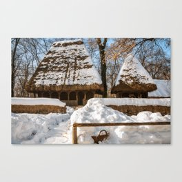 Idyllic winter postcard like from the old times Canvas Print